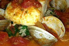 Halibut with clams