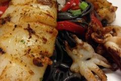 Squid Ink Pasta and Calamari